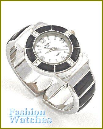 Women's celebrity runway jet black cuff fashion watch on sale.