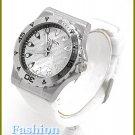 Oversized women's celebrity runway white rubber wristband, fashion watch on sale.