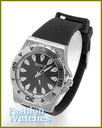 Oversized women's celebrity runway jet black rubber wristband, fashion watch on sale.