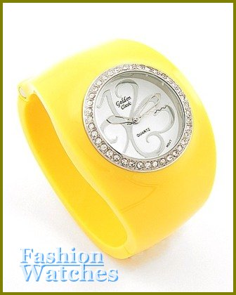 Women's celebrity runway sunshine yellow acrylic bangle, fabulous fashion watch on sale.