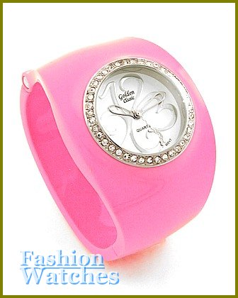 Women's celebrity runway candy pink acrylic bangle, fabulous fashion watch on sale.