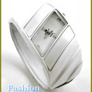 Women's celebrity runway blizzard white, satin finished, accent bracelet watch on sale.