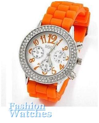 Women's celebrity runway blazing orange rubber strap watch on sale.