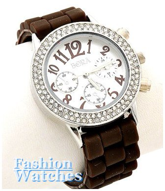 Women's rhinestone dark chocolate brown womens sport watch on sale