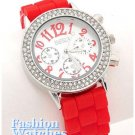 Women's ice rhinestone candy red rubber strap fashion watch on sale.