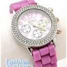 Give yourself a little ice with this stylish rhinestones, lavender fashion watch.