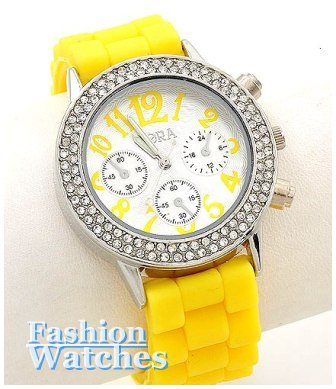 Sweet wrist candy is yours with this jelly bean yellow, fashion watch.