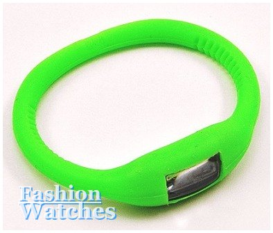 This lime Green rubber stretch band, accent fashion watch is just for you.