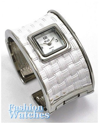 This white leatherette cuff, fashion watch will be the finishing touch for your outfit.