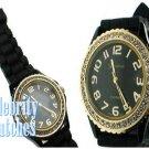 Splash of Glam...black jelly celebrity fashion watch on sale now.