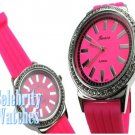 Smooth hot pink jelly celebrity fashion watch on sale now.