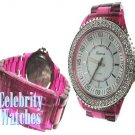 Celebrity Fashion Watches in smooth dark pink acrylic on sale.