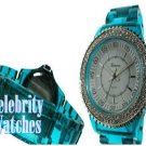 Celebrity Fashion Watches in smooth blue-green acrylic on sale.