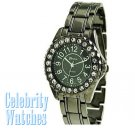 Celebrity Fashion Watches in gunmetal with ice crystal details on sale.