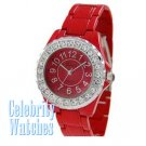Celebrity Fashion Watches in fire red with ice crystal details on sale.