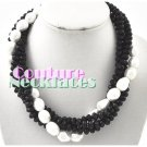 JONFRANCA women's Paramount® black crystal and white pearl fashion necklace on sale.
