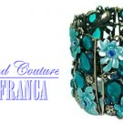 Flower teal crystals fashion bracelet with free complimentary gifts by JONFRANCA.