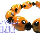 Orange ribbon glass beads fashion bracelet with free complimentary gifts by JONFRANCA.
