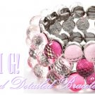 Boutique, fashion bracelet that delivers acrylic stones, washed in a fabulous silver finish.