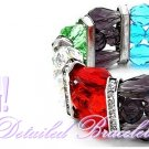 Fashion bracelet delivers colorful glass crystals, cultivated metalwork, with a rhodiumode finish.
