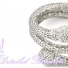 This ladies bracelet hosts clear ice accents, filigree mesh metalwork and antique silvermode finish.