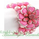 JONFRANCA fashion bracelet featuring candy pink Paramount® acrylic flowers and pearls.