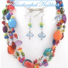JONFRANCA CIAGA's fashion necklace with multi strands of colorful ceramic beads and shells.