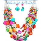 Hampton Hills® fashion necklace with Multi strands of shells and beads in candy shades.