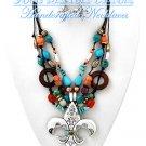 Fleur De Lis Pendant, Multi strands, with acrylic beads with by JONFRANCA CIAGA fashion necklaces.