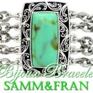 Gorgeous silvertone womens bracelet delivers faux turquoise stone accented by 5 chains.