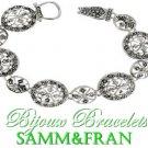 Designer metal bracelet marcasite diamondsque look with beautiful silvertone metalwork.
