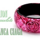 JONFRANCA celebrity acrylic flower designed fashion bracelet on sale.