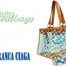 Blue tint, large clear tote by JONFRANCA CIAGA. Fashion handbag.