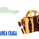 Chocolate brown, monogram classic mini briefcase by JONFRANCA CIAGA. Fashion handbag.