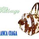 Cow print large duffel in Nantucket Bay fine materials by JONFRANCA CIAGA. Fashion handbag.