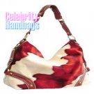 Ravishing!...Red and tan wildlife pattern celebrity handbag by AFFIRMATION on sale now.