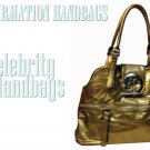 AFFIRMATION gold patent-leather touch fashion handbag on sale.