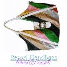 Harid &Fenwik women's multi color stripe tote fashion handbag on sale.