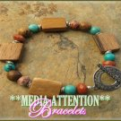 MEDIA ATTENTION Brazilian wood and gemstone bracelet on sale.