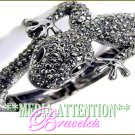 MEDIA ATTENTION smoked ''Glamourstones'' Safari-lizard fashion bracelet on sale.