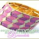 MEDIA ATTENTION candy pink epoxy mosaic pattern fashion bracelet on sale.