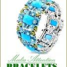Fashion bracelet bangle with gemstones and silvermoda finish