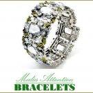 Fine Boutique Quality fashion bracelet showcases colorful acrylic gemstones and beads.