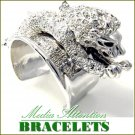 Lion fashion bracelet layered in Paramount® ice crystal rhodium-moda cultivated finish