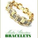 Oversized celebrity fashion bracelet bathed in ice stones with goldmoda finish