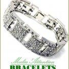 Oversized Boutique Quality fashion bracelet with Paramount ice rhinestones in rhodium finish