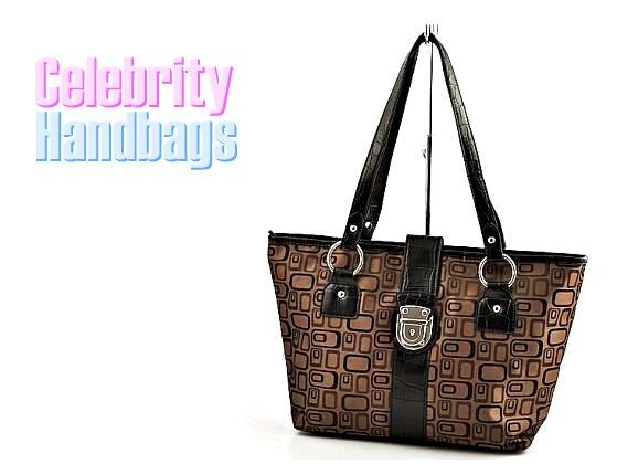 AFFIRMATION women's black and brown Signature tote fashion handbag on sale.