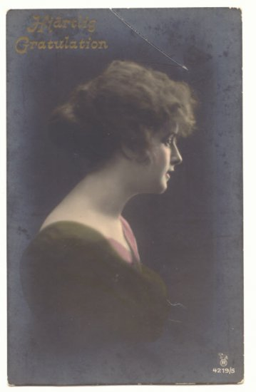 PRETTY LADY, FOREIGN TINTED REAL PHOTO POSTCARD 6