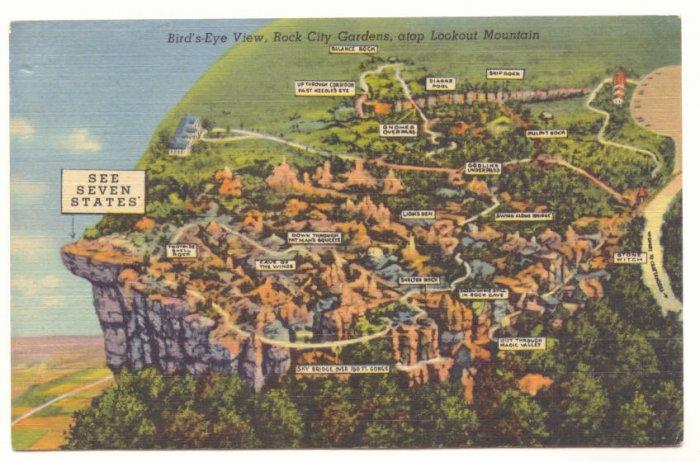 SEE SEVEN STATES, BIRDS EYE VIEW, ROCK CITY GARDENS Vintage Postcard   31
