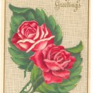 BIRTHDAY GREETINGS, TWO RED ROSES VINTAGE POSTCARD 39